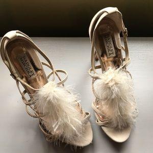 Badgley Mischa feather strappy heels sandals